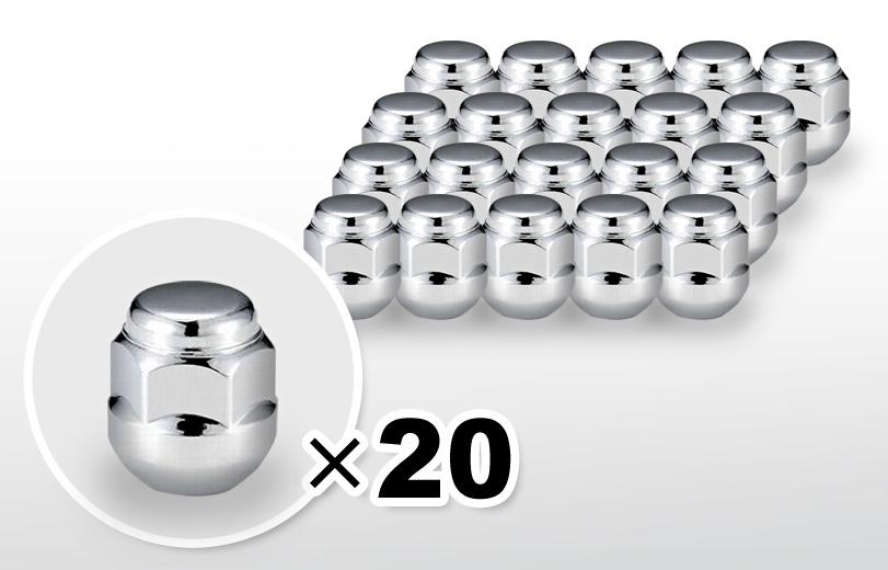 球面座 ショート(24mm) クロム ホイールナット M12×P1.5 19HEX 20本