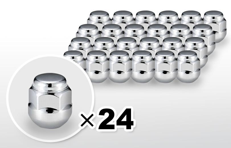 球面座 ショート(24mm) クロム ホイールナット M12×P1.5 19HEX 24本