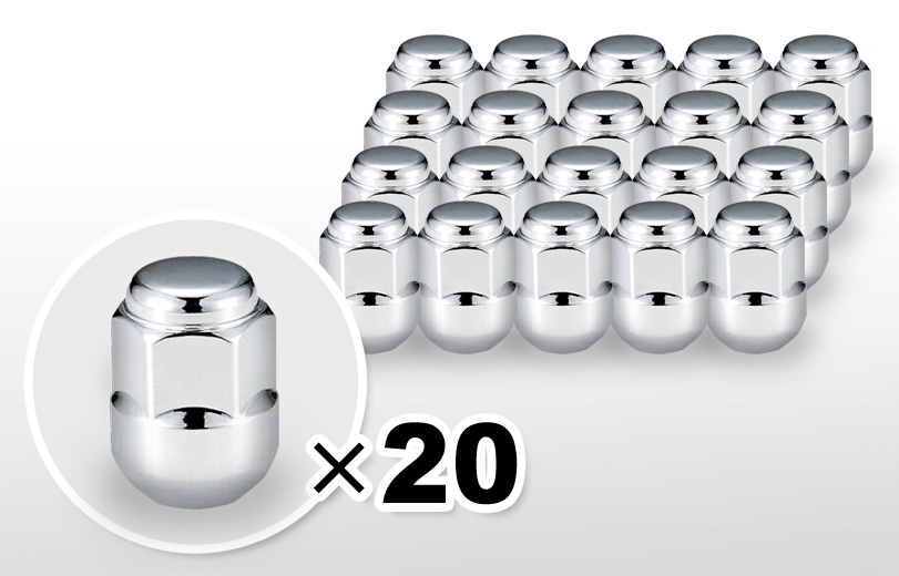 球面座 ロング(30mm) クロム ホイールナット M12×P1.5 19HEX 20本