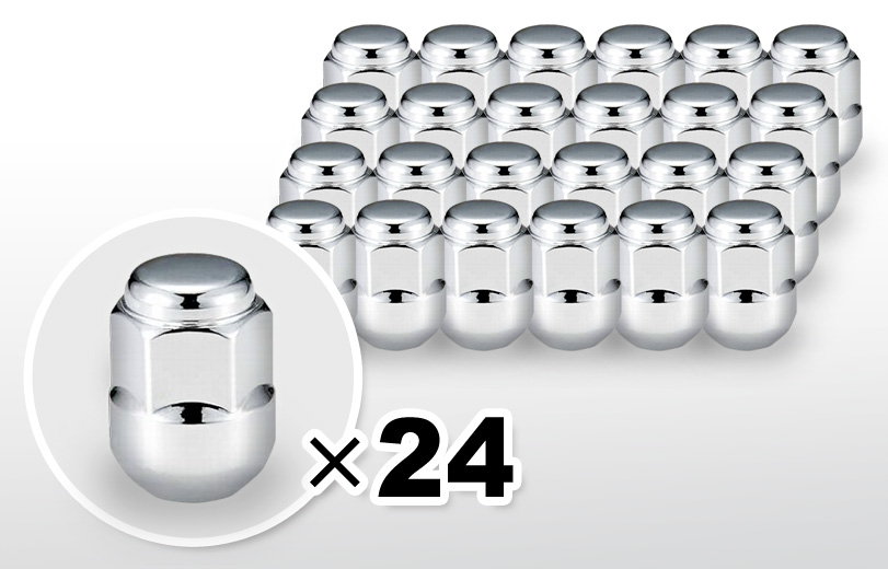 球面座 ロング(30mm) クロム ホイールナット M12×P1.5 19HEX 24本