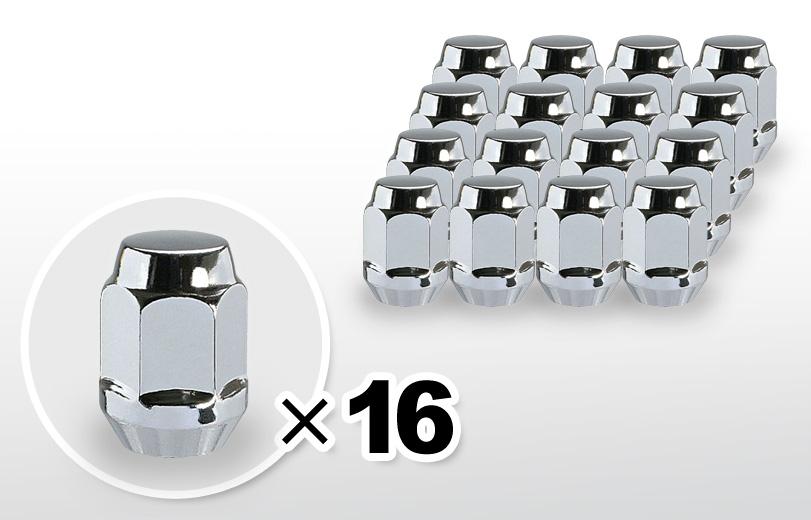 60°テーパー座 ロング(31mm) クロム ホイールナット M12×P1.5 19HEX 16本
