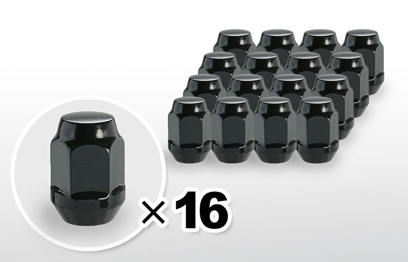 60°テーパー座 ロング(31mm) ブラック ホイールナット M12×P1.5 19HEX 16本