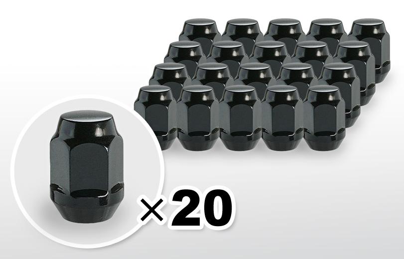 60°テーパー座 ロング(31mm) ブラック ホイールナット M12×P1.5 19HEX 20本