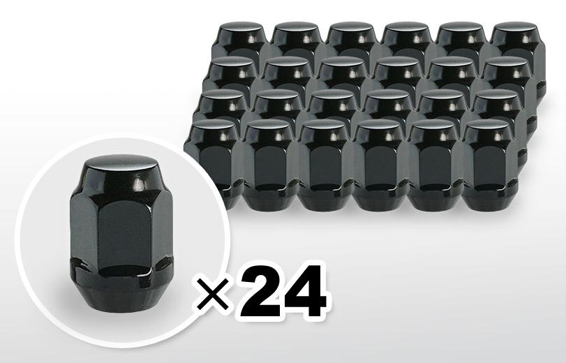 60°テーパー座 ロング(31mm) ブラック ホイールナット M12×P1.5 19HEX 24本