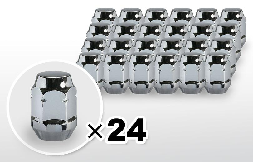 60°テーパー座 ロング(31mm) クロム ホイールナット M12×P1.25 19HEX 24本