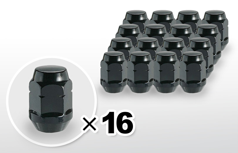 60°テーパー座 ロング(31mm) ブラック ホイールナット M12×P1.25 19HEX 16本