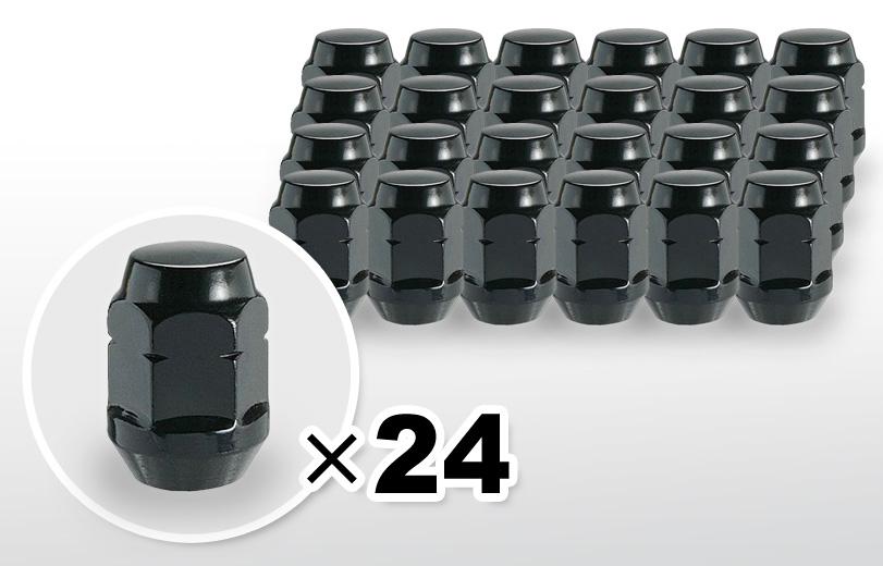 60°テーパー座 ロング(31mm) ブラック ホイールナット M12×P1.25 19HEX 24本
