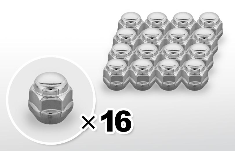 60°テーパー座 ショート(23mm) クロム ホイールナット M12×P1.25 19HEX 16本