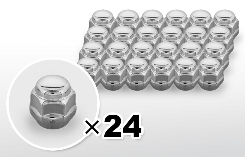 60°テーパー座 ショート(23mm) クロム ホイールナット M12×P1.25 19HEX 24本