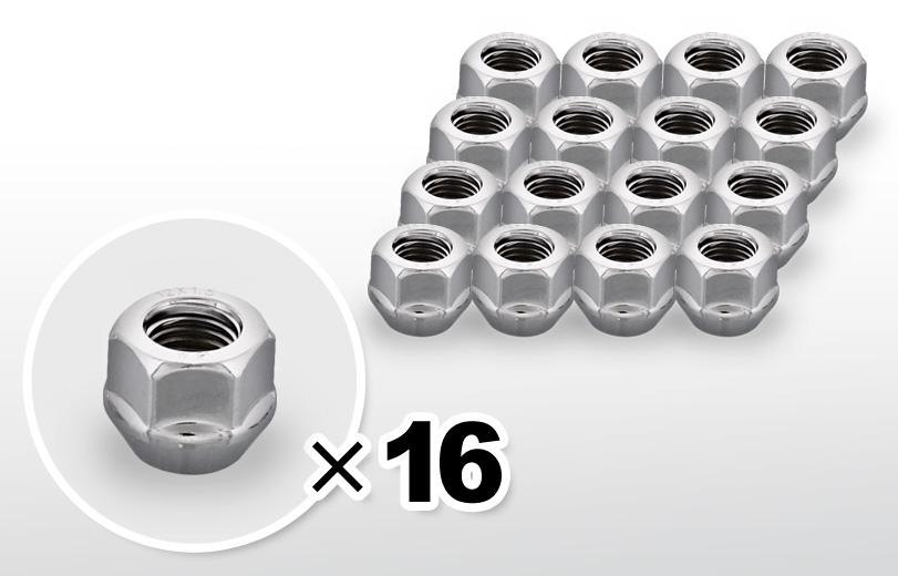60°テーパー座 貫通(16mm) クロム ホイールナット M12×P1.5 19HEX 16本