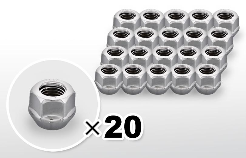 60°テーパー座 貫通(16mm) クロム ホイールナット M12×P1.5 19HEX 20本