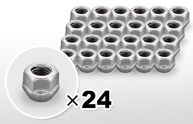 60°テーパー座 貫通(16mm) クロム ホイールナット M12×P1.5 19HEX 24本