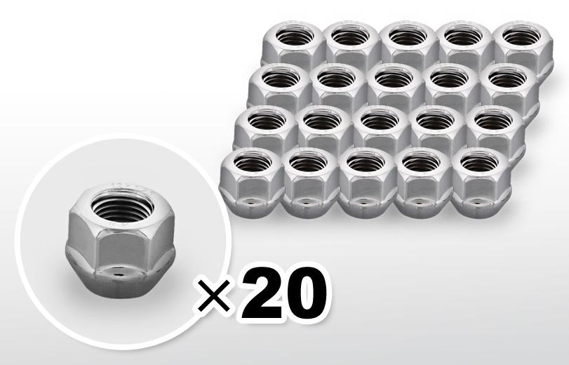 60°テーパー座 貫通(16mm) クロム ホイールナット M12×P1.25 19HEX 20本