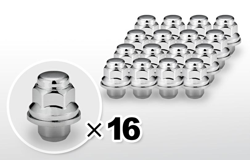 平面座 ショート(37mm) クロム ホイールナット M12×P1.5 21HEX 16本