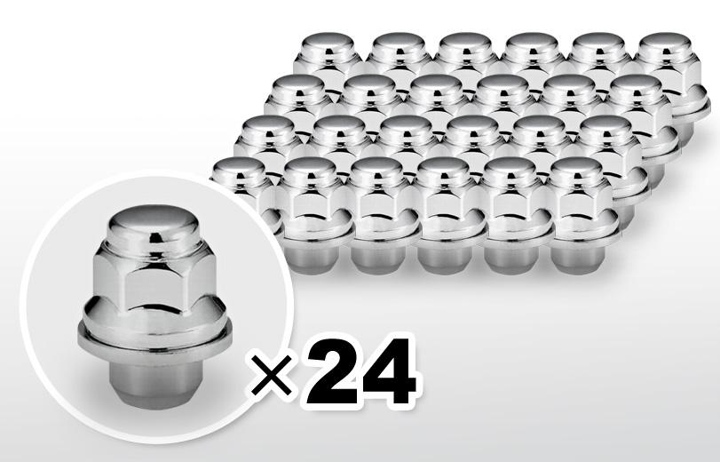 平面座 ショート(37mm) クロム ホイールナット M12×P1.5 21HEX 24本