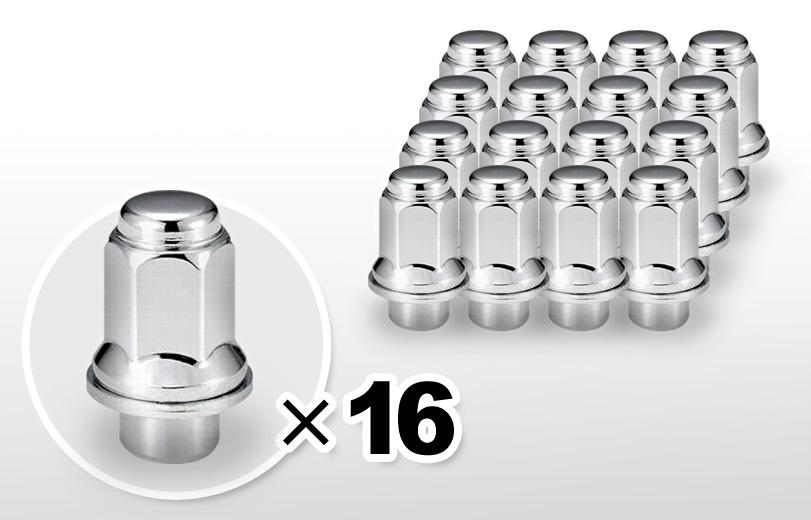 平面座 ロング(47mm) クロム ホイールナット M12×P1.5 21HEX 16本