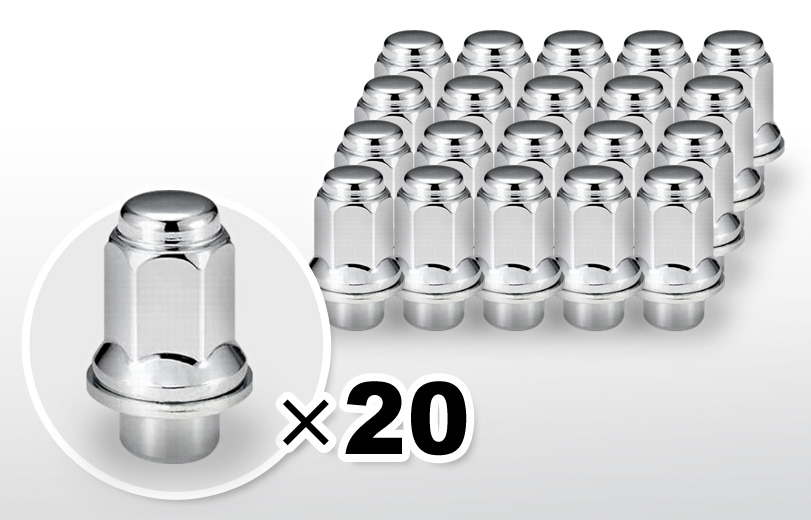 平面座 ロング(47mm) クロム ホイールナット M12×P1.5 21HEX 20本