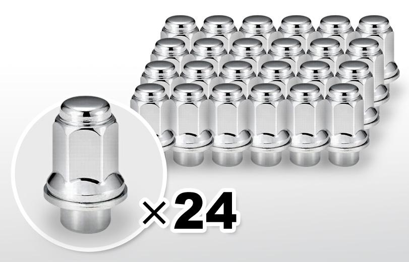 平面座 ロング(47mm) クロム ホイールナット M12×P1.5 21HEX 24本