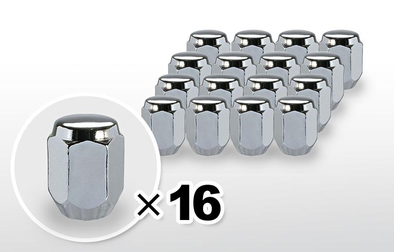 60°テーパー座 ロング(31mm) クロム ホイールナット M12×P1.5 21HEX 16本
