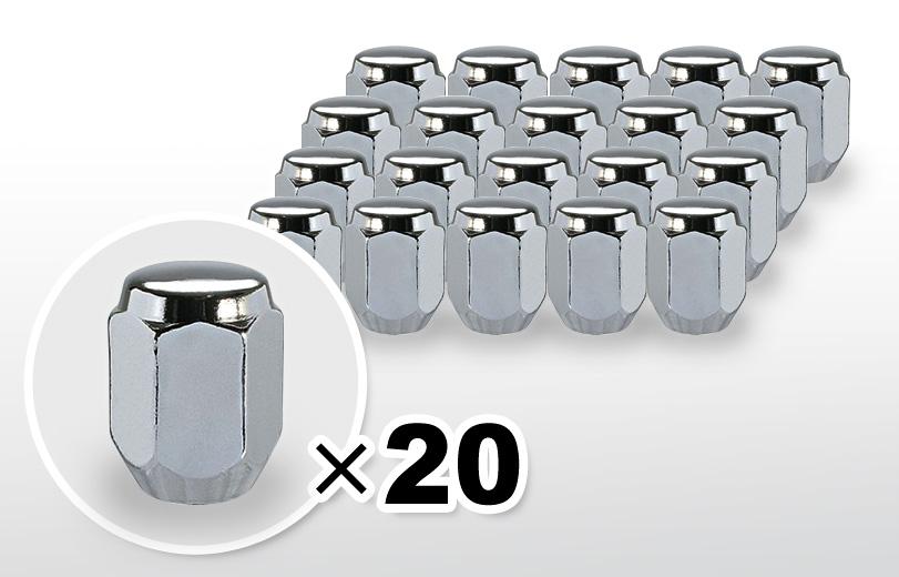 60°テーパー座 ロング(31mm) クロム ホイールナット M12×P1.5 21HEX 20本