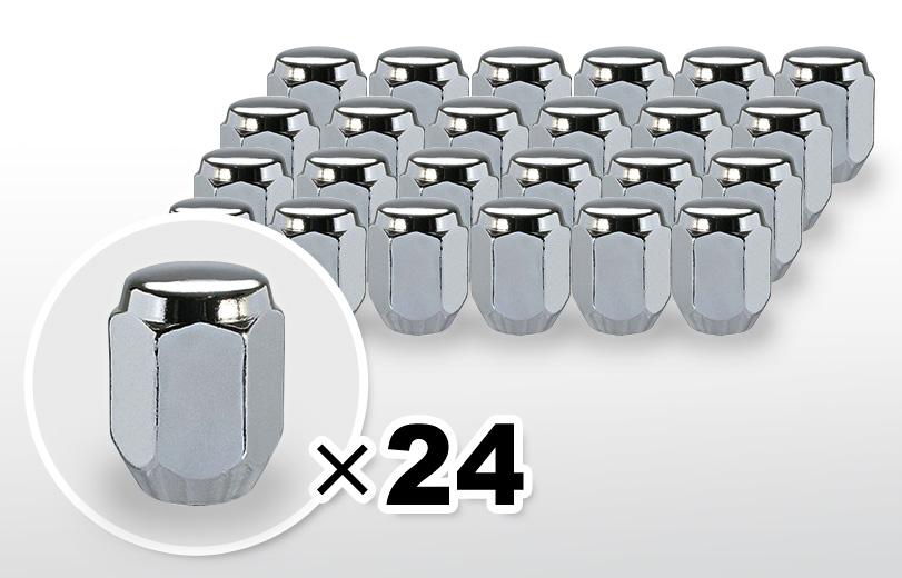 60°テーパー座 ロング(31mm) クロム ホイールナット M12×P1.5 21HEX 24本