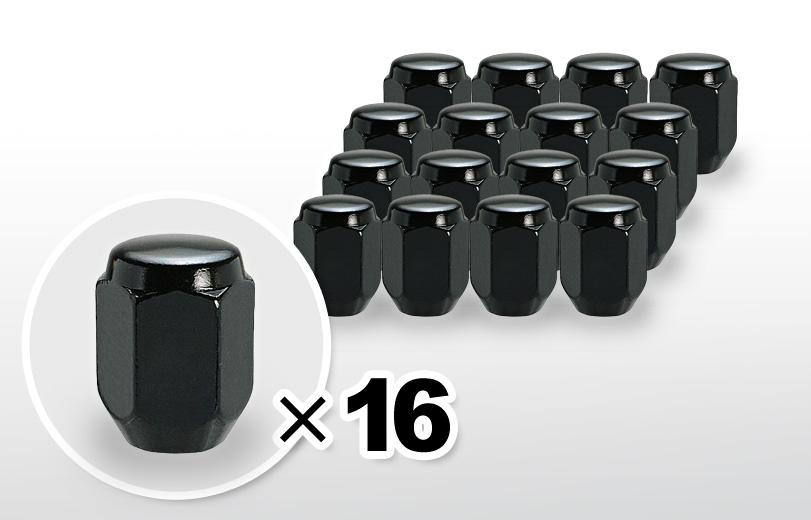 60°テーパー座 ロング(31mm) ブラック ホイールナット M12×P1.5 21HEX 16本