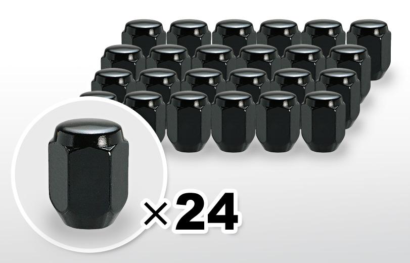60°テーパー座 ロング(31mm) ブラック ホイールナット M12×P1.5 21HEX 24本
