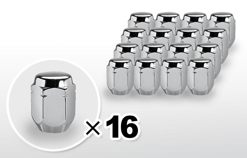 60°テーパー座 ロング(31mm) クロム ホイールナット M12×P1.25 21HEX 16本