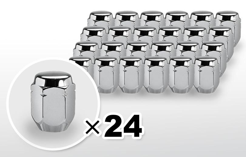 60°テーパー座 ロング(31mm) クロム ホイールナット M12×P1.25 21HEX 24本