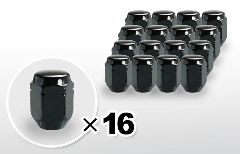 60°テーパー座 ロング(31mm) ブラック ホイールナット M12×P1.25 21HEX 16本