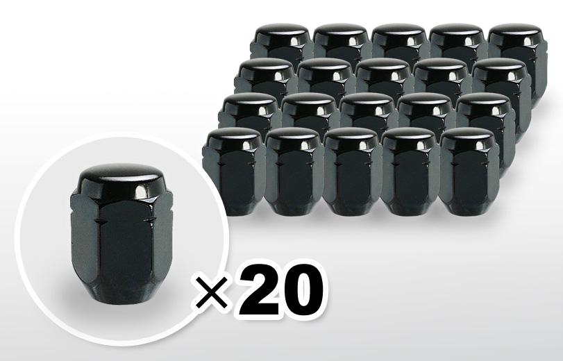 60°テーパー座 ロング(31mm) ブラック ホイールナット M12×P1.25 21HEX 20本