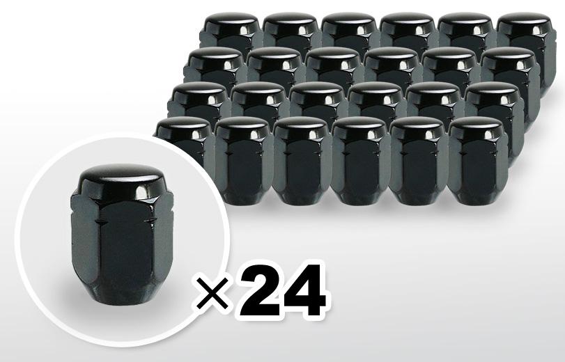 60°テーパー座 ロング(31mm) ブラック ホイールナット M12×P1.25 21HEX 24本