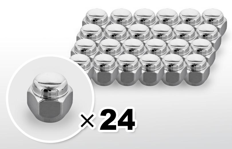 60°テーパー座 ショート(23mm) クロム ホイールナット M12×P1.5 21HEX 24本