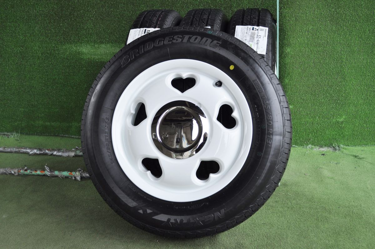 G-CORPORATION Moving Cafe Label OpenHeart2 ホワイト BRIDGESTONE NEXTRY 145/80R13 4本SET