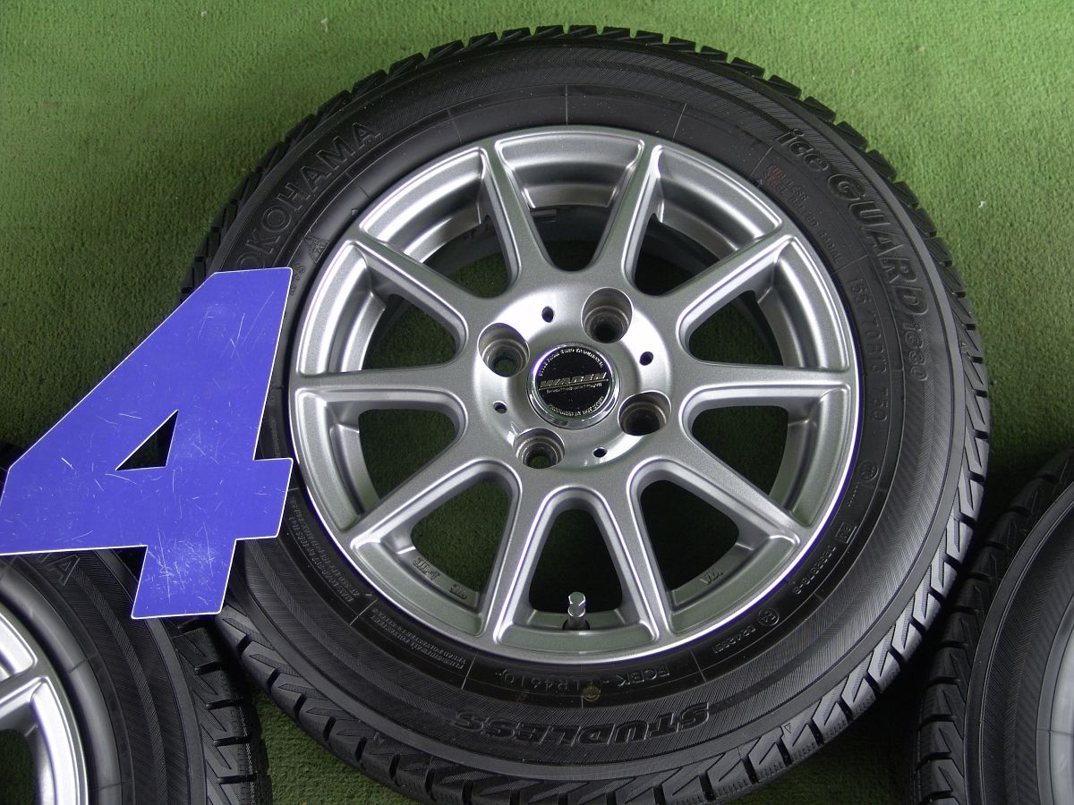 HOT STUFF WAREN WR10 ダークシルバー YOKOHAMA iceGUARD iG30 155/70R13 4本SET