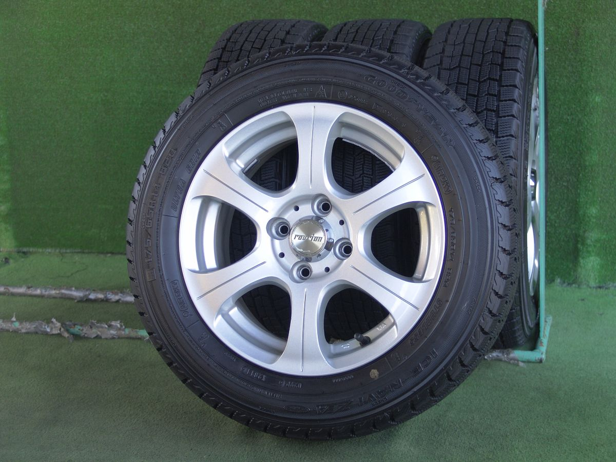 WEDS RAVRION SPIRIT シルバー GOODYEAR ICENAVI ZEA 175/65R14 4本SET