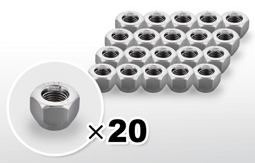 60°テーパー座 貫通(16mm) クロム ホイールナット M12×P1.25 21HEX 20本