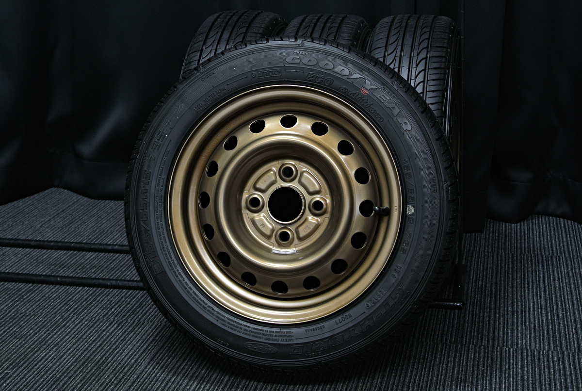 TOYOTA 純正 マットブロンズ GOODYEAR GT-Hybrid 155/65R13 4本SET