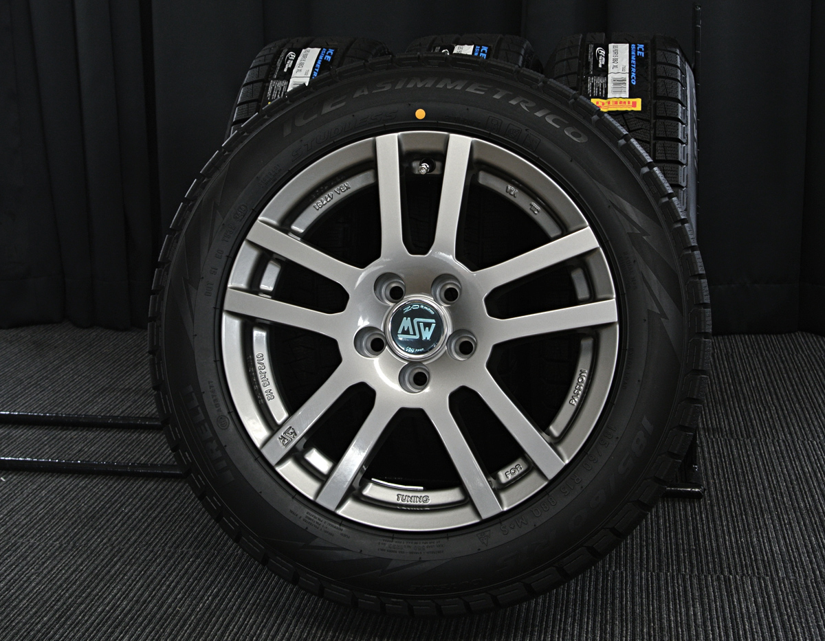 MSW designed by OZ MSW-22 ガンメタ PIRELLI ICE ASIMMETRICO 185/60R15 4本SET