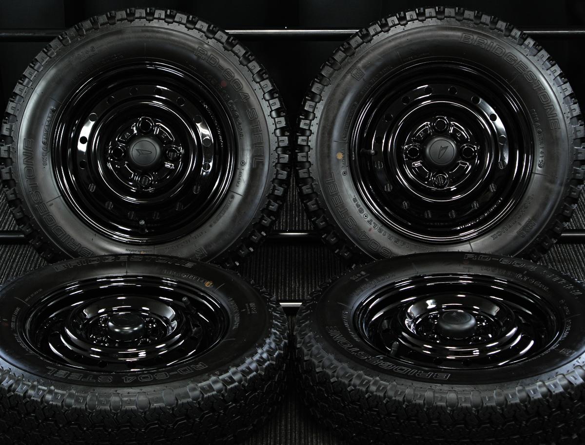 DAIHATSU ハイゼットカーゴ 純正 ブラック BRIDGESTONE RD-604 STEEL 145R12LT 6PR 4本SET