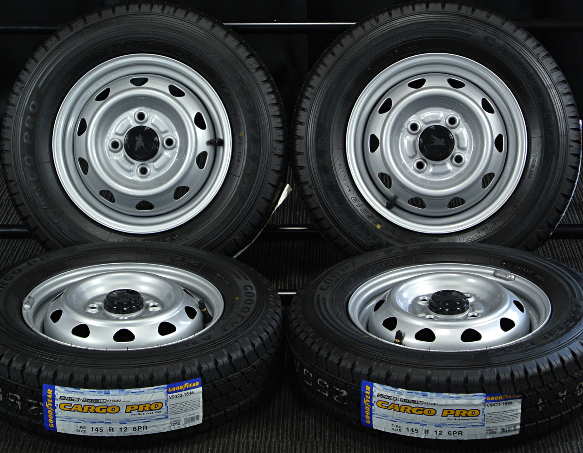 WEDS Carrowin シルバー GOODYEAR CARGO PRO 145R12 6PR LT 4本SET