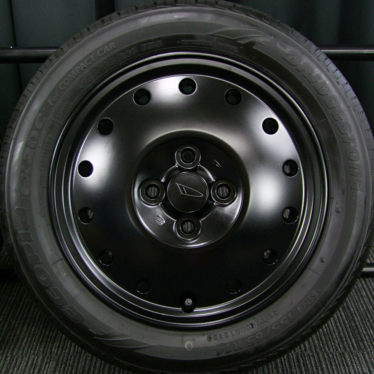 DAIHATSU ネイキッド 純正 マットブラック BRIDGESTONE ECOPIA EX20C 155/65R14 4本SET