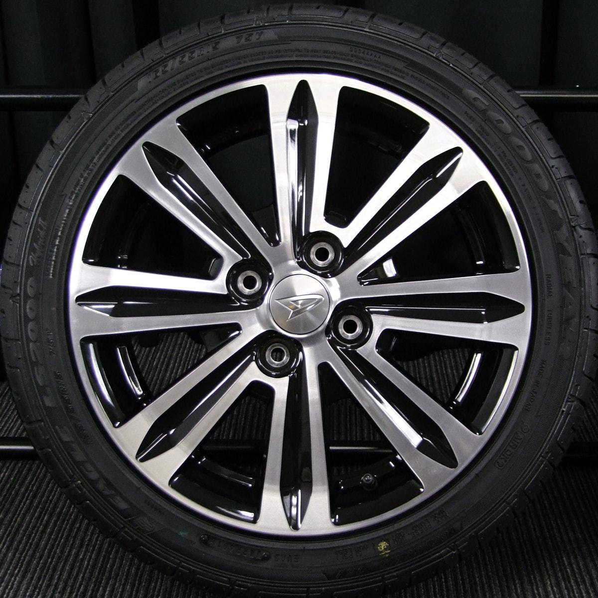 DAIHATSU タントカスタム 純正 ブラック&ポリッシュ GOODYEAR EAGLE LS2000 Hybrid2 165/55R15 4本SET