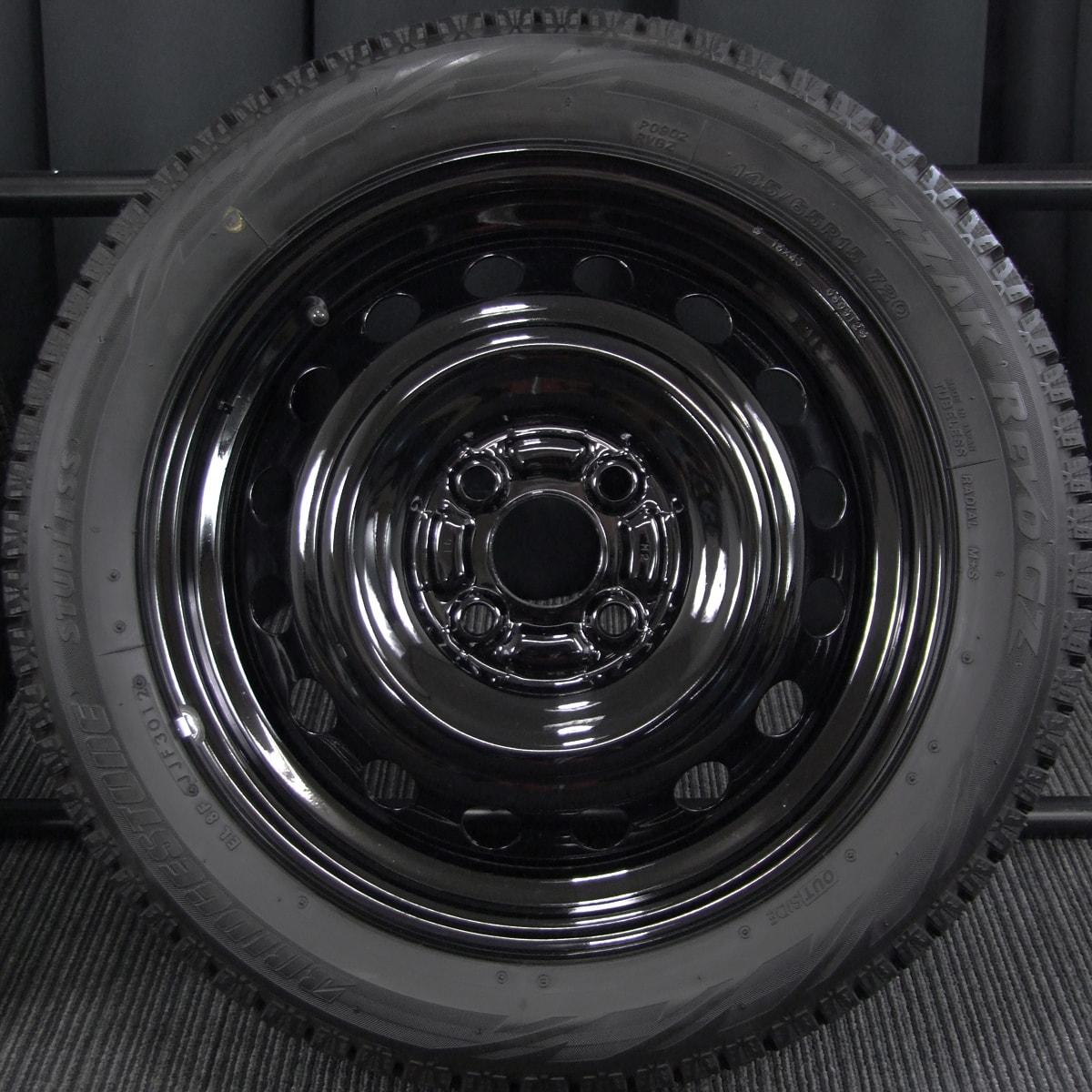 MITSUBISHI i 純正 ブラック BRIDGESTONE BLIZZAK REVO-GZ 145/65R15 175/55R15 4本SET