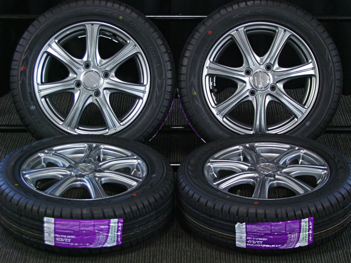 MANARAY SPORT EUROSPEED C'S ダークシルバー ATR SPORT Economist ATR-K 155/65R14 4本SET