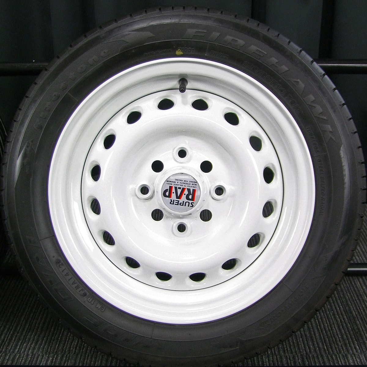 BRIDGESTONE SUPER R.A.P. ホワイト FIRESTONE FIREHAWK WIDE OVAL 175/60R14 4本SET