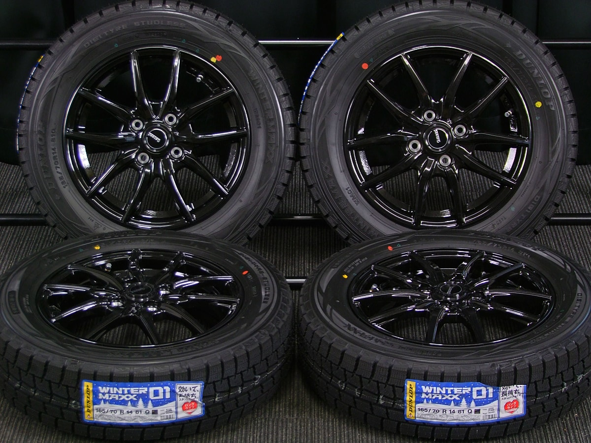 HOT STUFF G.speed G-02 ブラックメタリック DUNLOP WINTER MAXX WM01 165/70R14 4本SET