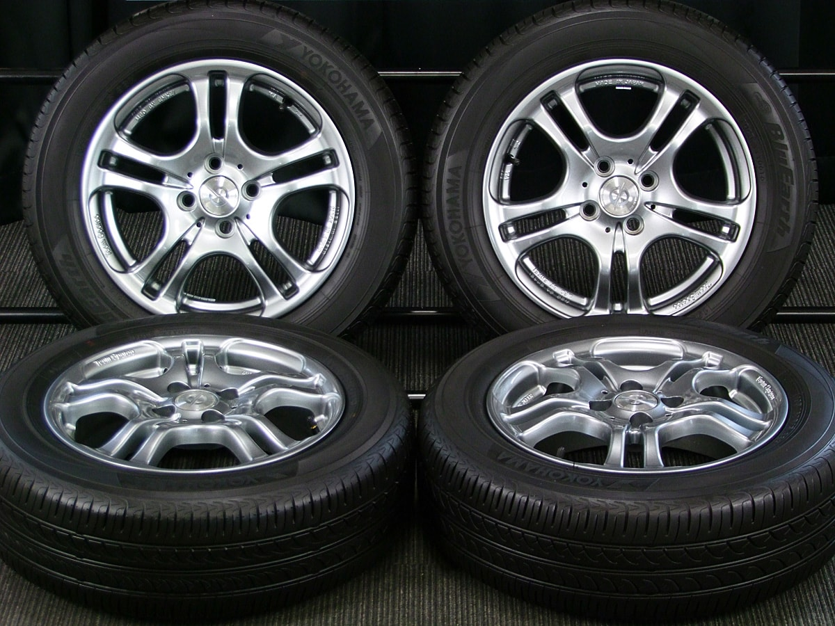 CRIMSON MFD BY ENKEI Team Sparco TS01 ダークシルバー YOKOHAMA BluEarth AE-01 195/60R15 4本SET