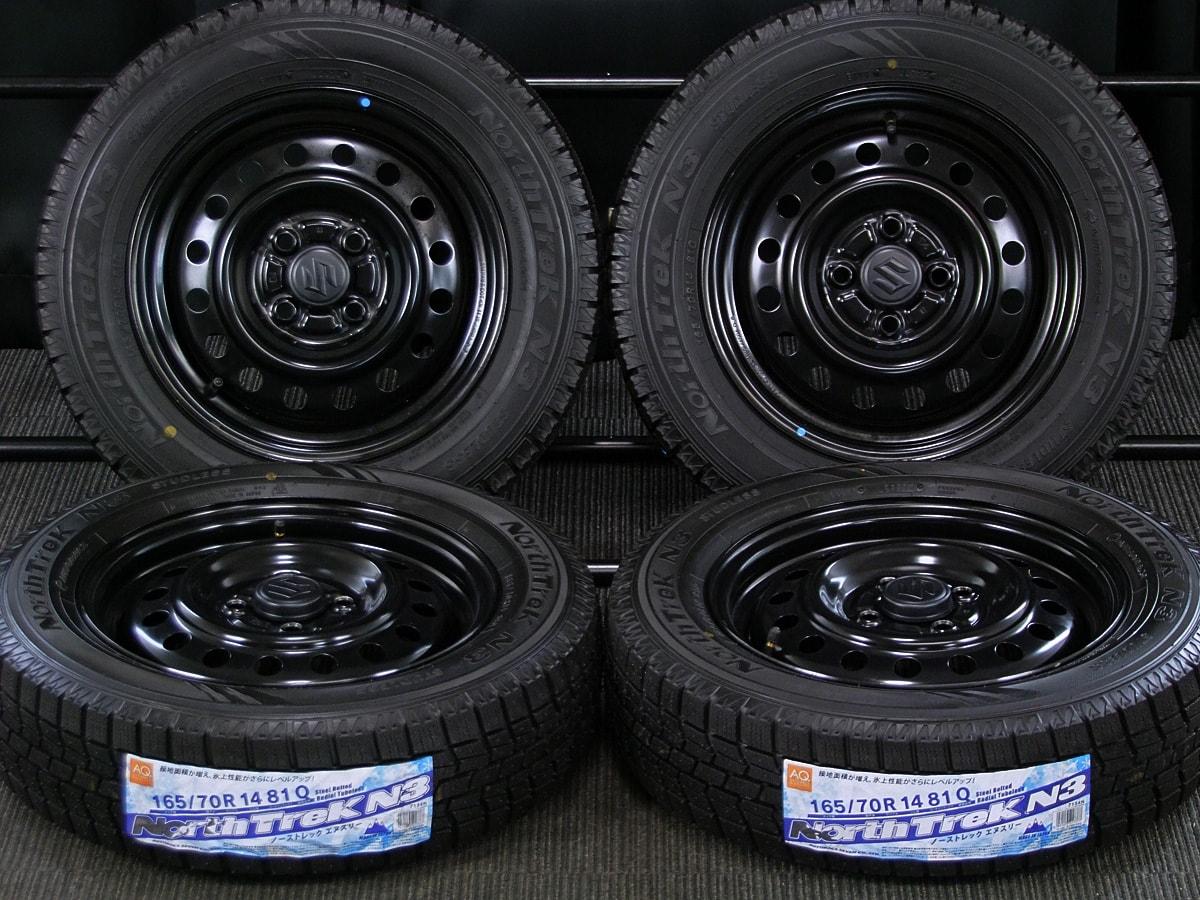 SUZUKI ワゴンR 純正 ブラックスチール AUTOBACS NorthTrek N3 165/70R14 4本SET