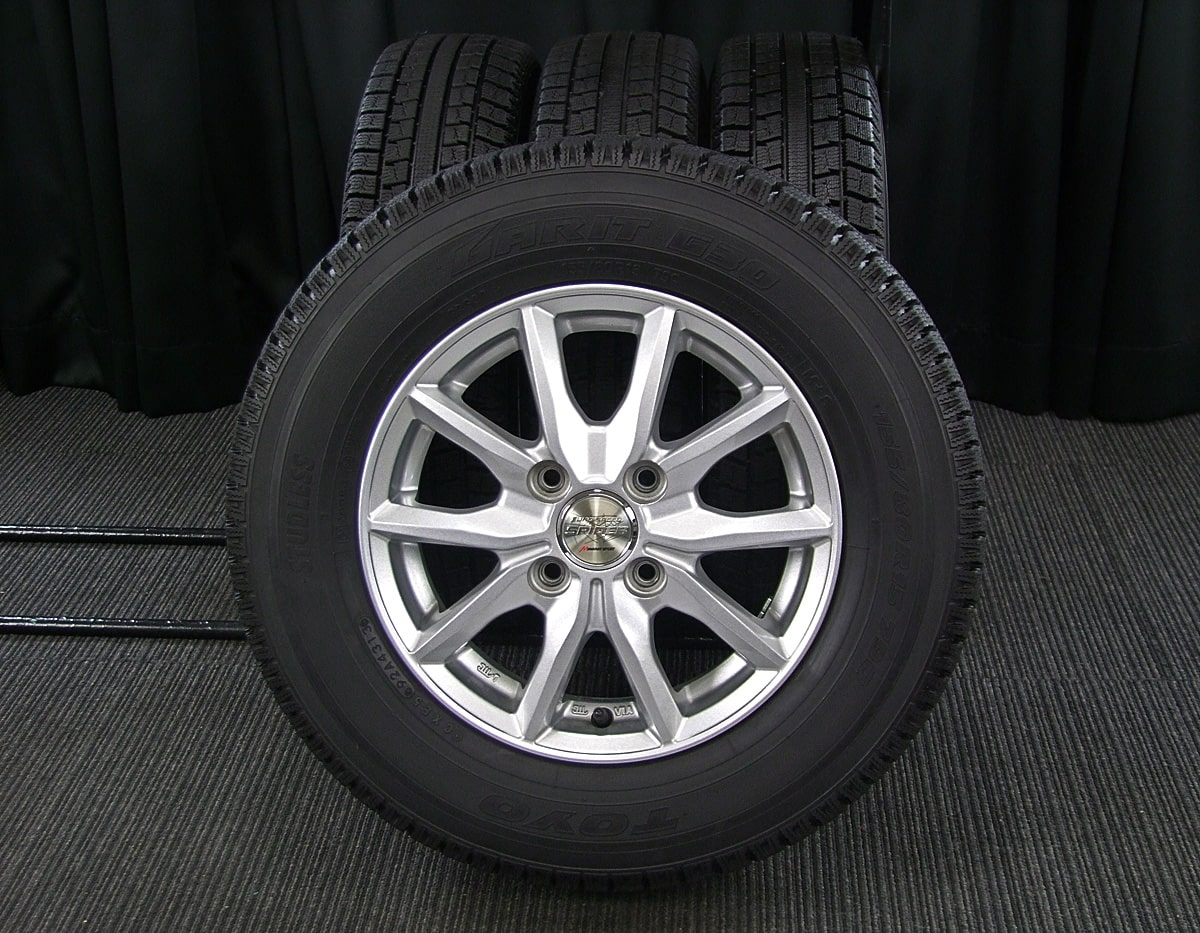 MANARAY SPORTS EuroSpeed SPIDER5 シルバー TOYO GARIT G30 155/80R13 4本SET
